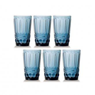 Conjunto de 6 Copos de Água Elegance - Azul 330ml