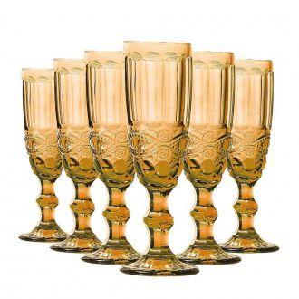Conjunto de 6 Taças de Champangne Elegance - Amber 140ml