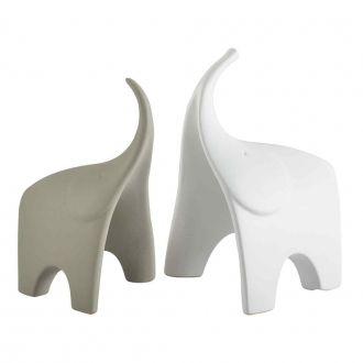 Conjunto de Elefantes Decorativos em Cerâmica - 2 peças