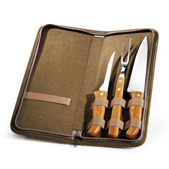 Conjunto de Garfo, Faca e Chaira em Bambu/Aço Inox com Estojo