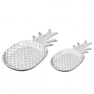 Conjunto de Pratos Decorativos em Cerâmica Abacaxi 2 Peças Prata