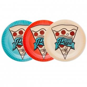 Conjunto de Pratos Rasos para Pizza em Cerâmica 3 Peças Oxford
