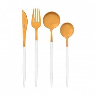 Conjunto de Talheres em Aço Inox 16 Peças Garbo Catarina Branco e Dourado