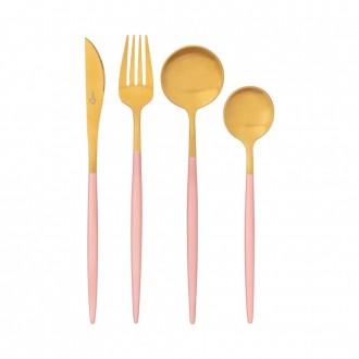 Conjunto de Talheres em Aço Inox 16 Peças Garbo Madame Rosa e Dourado