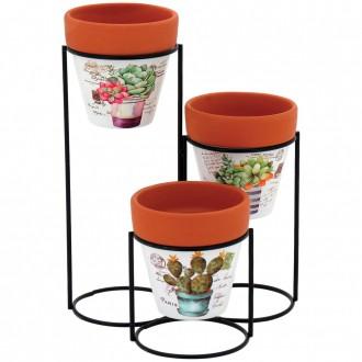 Conjunto de Vaso em Cerâmica com Suporte Multicor Gueroba
