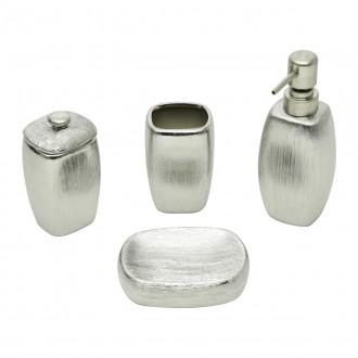 Conjunto para Banheiro em Cerâmica 4 Peças Lux Silver Prata