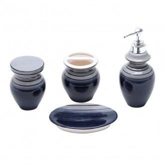 Conjunto para Banheiro em Cerâmica 4 Peças Vertigo Preto e Cinza
