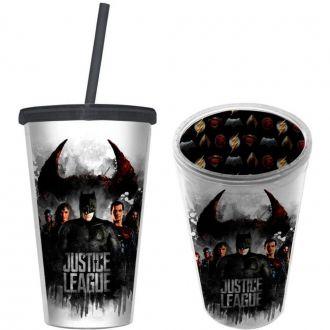 Copo 500ml Com Canudo Batman Liga Da Justiça Filme