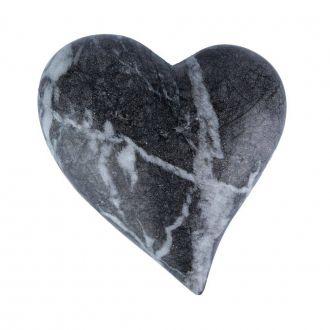 Coração Decorativo em Cerâmica Marble Heart Cinza Grande