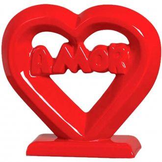 Coração Decorativo em Cerâmica Vermelho