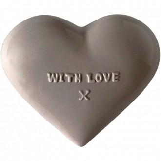 Coração Decorativo em Cerâmica With Love Cinza 13cm