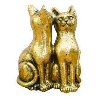 Dupla de Gatos Decorativos Dourado Pequeno