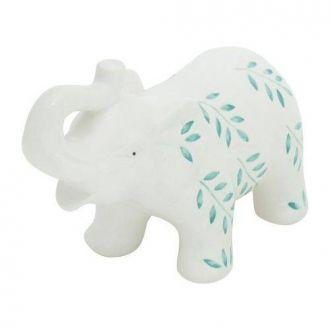 Elefante Decorativo de Cerâmica Branco Flowers