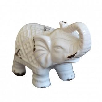 Elefante Decorativo em Cerâmica Branco