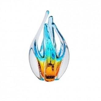 Escultura de Cristal Murano Aquamarine com Âmbar 23cm - São Marcos