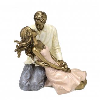 Escultura Decorativa Casal Momento Romântico em Resina