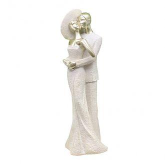 Escultura Decorativa em Resina Casal Abraço na Cintura 31,5cm