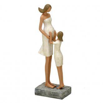 Escultura Decorativa em Resina Mãe Grávida e Filha