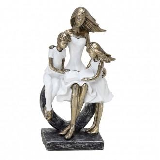 Escultura Decorativa Família Mãe com Filhos em Resina Dourada