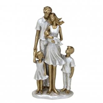 Escultura Família Decorativa em Resina Dourada e Prata Mãe, Pai, Filho, Filha e Bebê