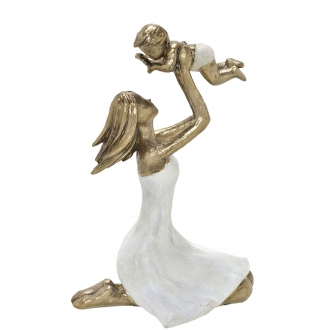 Escultura Família Decorativa em Resina Dourada Mãe e Bebê