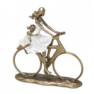 Escultura Família Decorativa em Resina Dourada Mãe e Filha na Bicicleta