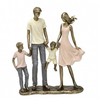 Escultura Família Decorativa em Resina Dourada Mãe, Pai, Filho e Bebê