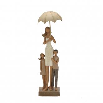Escultura Família Decorativa em Resina Mãe e Filhos no Guarda-Chuva