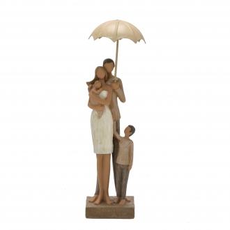 Escultura Família Decorativa em Resina Mãe, Pai, Filho e Bebê no Guarda-Chuva