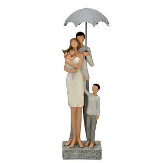 Escultura Família Decorativa em Resina Pais e Filhos