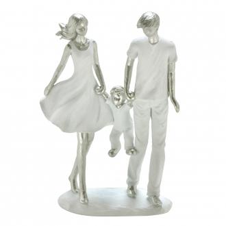 Escultura Família Decorativa em Resina Prata e Branco Mãe, Pai e Filho
