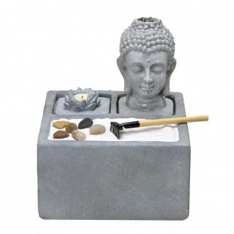 Fonte de Água Decorativa com Led Cabeça de Buda Cimento 29cm 110V