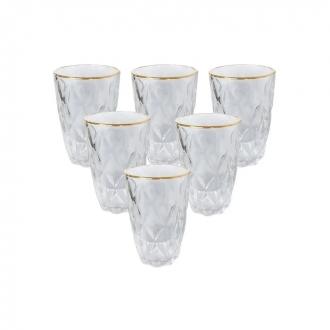 Jogo de 6 Copos Altos de Vidro Diamond com Fio de Ouro Diamond Transparente 350ml
