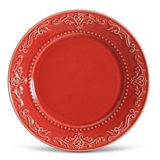 Jogo de 6 Pratos Raso 26cm - Acanthus Vermelho