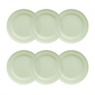 Jogo de 6 Pratos Rasos 26cm Verde Menta Cottage Germer Porcelanas