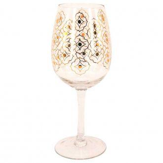 Jogo de 6 Taças de Vinho Tinto com Detalhes Dourado