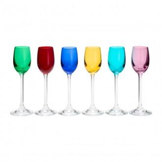 Jogo de 6 Taças para Licor em Cristal Bohemia Colorida 65ml