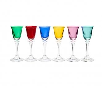 Jogo de 6 Taças para Licor em Cristal Bohemia Kleopatra/Branta Colorida 50ml