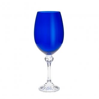 Jogo de 6 Taças para Vinho em Cristal Ecológico Bohemia Elisa Cobalto 450ml