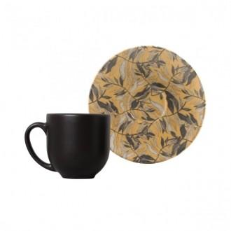 Jogo de 6 Xícaras de Café com Pires 112ml Amarilla Porto Brasil