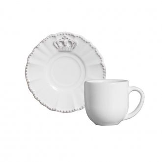 Jogo de 6 Xícaras de Café com Pires 112ml - Windsor Branco