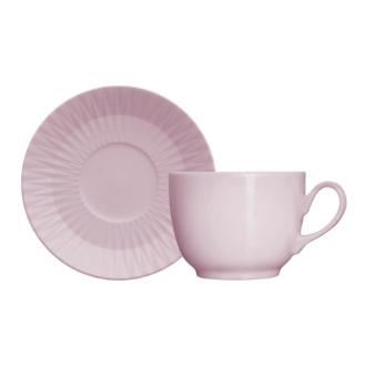 Jogo de 6 Xícaras de Café com Pires 75ml Rosa Fractal Diamante Germer Porcelanas