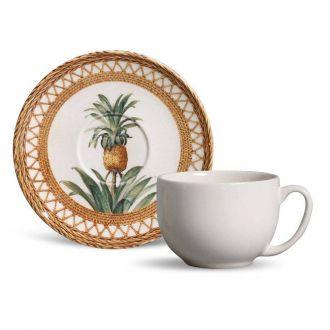 Jogo de 6 Xícaras de Chá com Pires 198ml - Coup Pineapple Natural