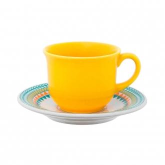 Jogo de 6 Xícaras de Chá com Pires Floreal Bilro 200ml Oxford