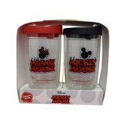 Kit 2 Copos Mickey e Minnie Bordados 400ml