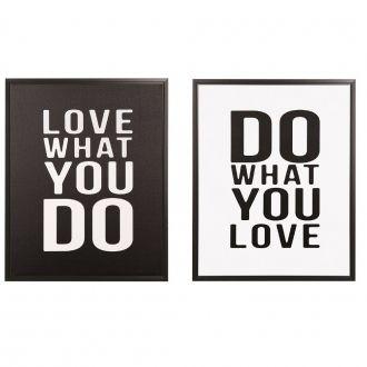 Kit 2 Quadros Decorativos em Canvas Do What/Love What