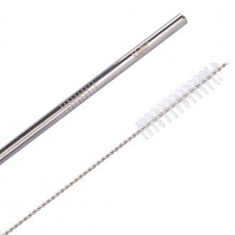 Kit Canudo Metal Com Limpador - Prata
