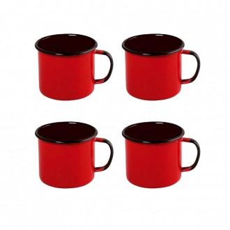 Kit de 4 Canecas Esmaltada 130ML - Vermelho