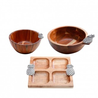Kit de Bowls e Petiqueira de Madeira Acácia com Detalhe Abacaxi em Zamac