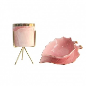 Kit de Porta Bijuterias e Cachepot Decorativo Rosa